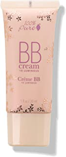 100% PURE BB Cream, Shade 10 Luminous, Full Coverage, All-In-One Primer, Concealer, Foundation Makeup, Shimmery, Dewy Finish, Vegan Makeup (Light Shade w/Warm Undertone) - 1 Fl Oz