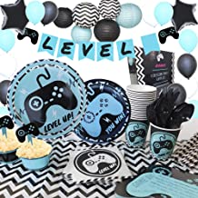 BYPAMCO Video Gaming Party Supplies Kit Happy Birthday Video Game Party Decorations for Boy Latex Foil Balloons Banner Lanterns Serves 16: Gamer Invitations Cards Plates Topper wrappers Cupcake Cutlery Tablecloth Straws Napkins 210 Pcs