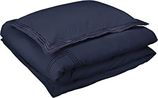AmazonBasics Premium Embroidered Hotel Stitch Duvet Cover Set - Twin or Twin XL, Navy Blue