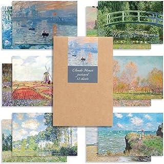 モノライク クロードモネ 葉書 はがき ポストカード Claude Monet set - 12セット感性的なデザインはがきデイリーはがき、雰囲気のあるすっきりしたはがき長方形葉書,デザイン文具
