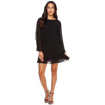 Laundry by Shelli Segal Knife Pleat Chiffon Cocktail Dress (Black) Women