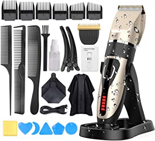 Hair Clippers for Men, DUSASA Professional Cordless Hair Trimmer IPX7 Waterproof USB Rechargeable LED Display Beard Trimmer Multiple 21 Sets Hair Cutting Kit With Charging Dock-2000mAh Lithium Ion