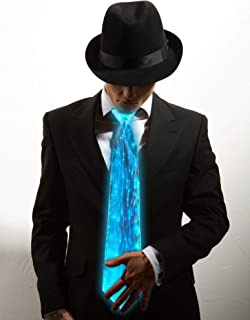 Light Up Neckties Novelty 7 Colors LED Light Up Tie Men Women LED Costumes for Halloween Music Dance Party(Single Piece)