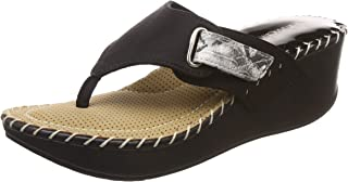 Catwalk Black Leather Slip-on Wedges for Women's
