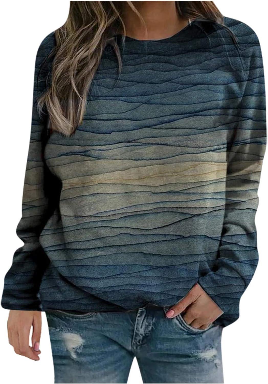 Long Sleeve Shirts for Women,Women Tie Dye Sweatshirts Crewneck Vintage Graphic Plus Size Long Sleeve Autumn Pullover