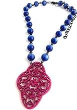 Sapphire Blue & Hot Pink Boho Lace Beaded Aleta Necklace