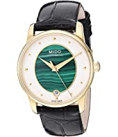 Mido - Baroncelli Wild Stone Yellow Gold PVD Case and Black Leather Strap - M0352073646100
