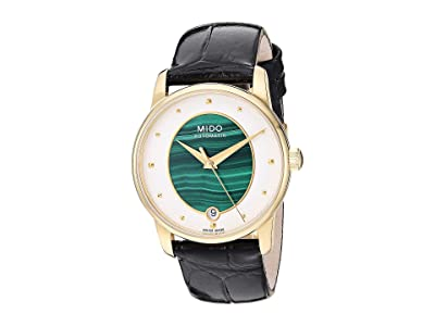 Mido Baroncelli Wild Stone Yellow Gold PVD Case and Black Leather Strap M0352073646100 (Malachite) Necklace