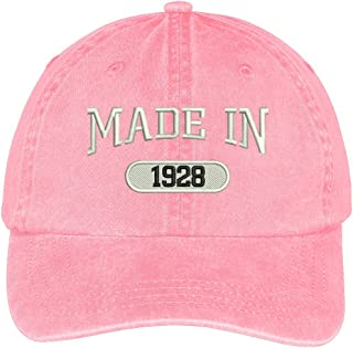 Trendy Apparel Shop 91st Birthday - Made in 1928 Embroidered Low Profile Washed Cotton Baseball Cap