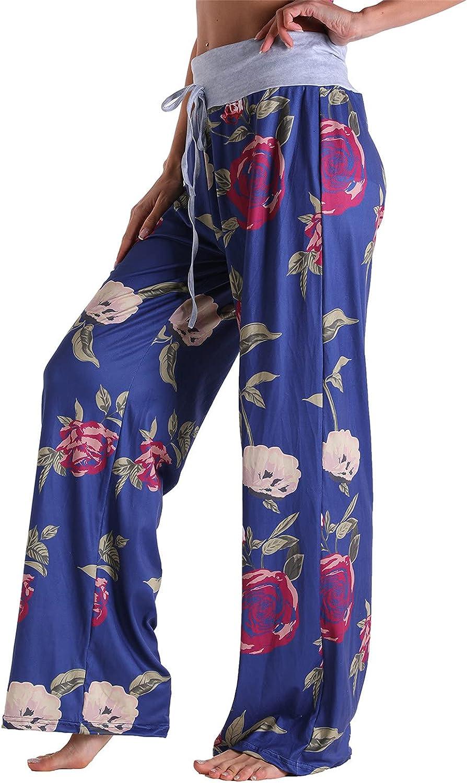 Zxvrara Womens Wide Leg Capri Pants Casual High Waist Loose Pants Comfy Stretch Printing Plus Size Harem Pants Pockets