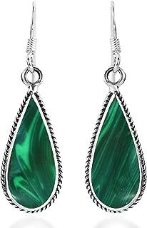 Classic Teardrop Shaped Green Malachite Inlaid .925 Sterling Silver Dangle Earrings