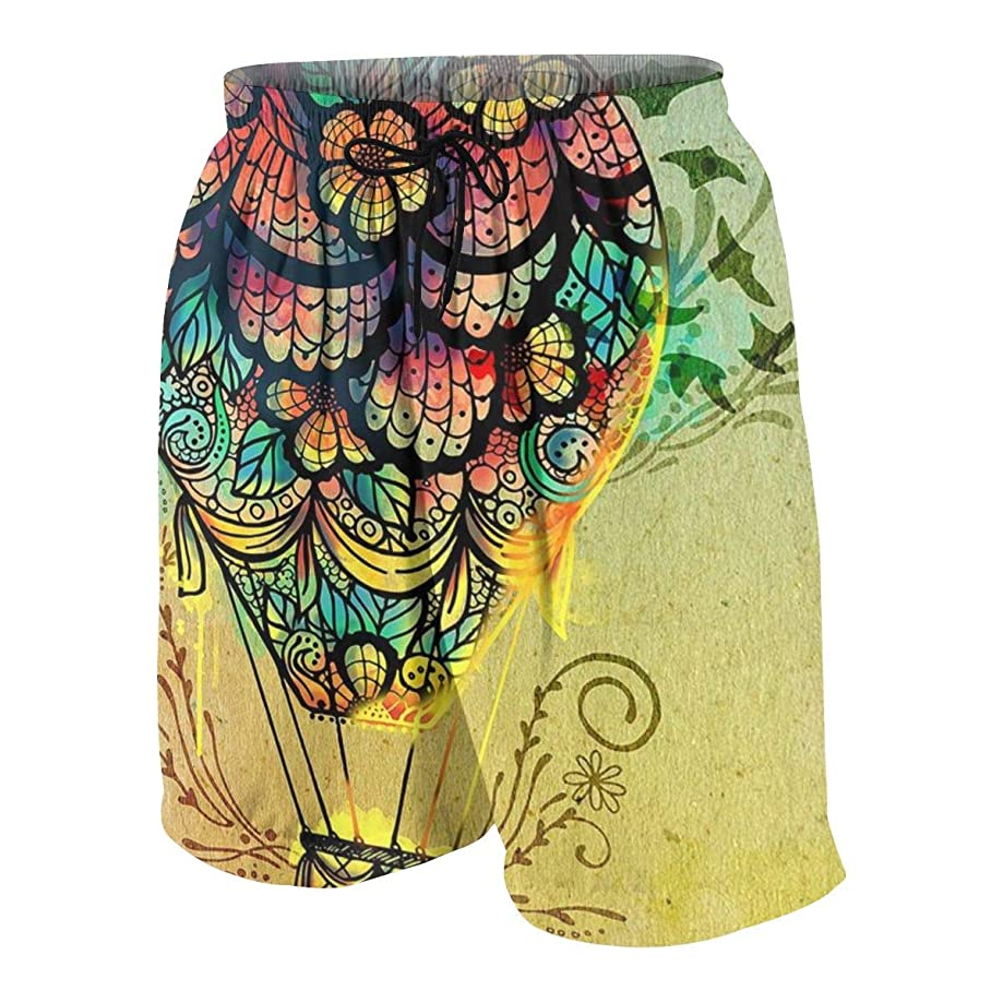 Boy's Beach Swim Trunks Quick Dry - Hot Air Balloon Hotspring Surfing Shorts Bathing Suit with Pocket