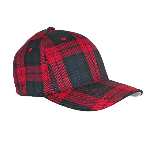 3573efd0af9 Flexfit Men s Cotton Tartan Plaid Stretch Fit Baseball Hat