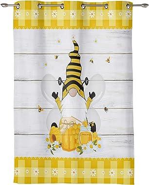 Window Curtain Drape for Bathroom Kitchen Decor Farm Gnome with Honey on Wood Plank, Grommet Top Privacy Window Treatment Pan