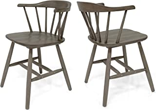 Mia Farmhouse Spindle Back Rubberwood Dining Chairs (Set of 2), Aged Gray