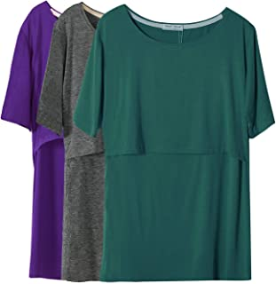 Smallshow Women's Maternity Nursing Tops Short Sleeve Breastfeeding Clothes