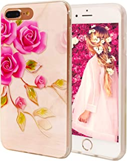 LayYun Case for Apple iPhone 8 Plus/iPhone 7 Plus, 5.5-Inch, Clear iPhone Case with Design Embossed Floral Pattern TPU Soft Bumper Shock Absorption Slim Protective Cover (Rose)
