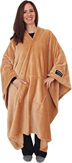 throwbee Original Blanket-Poncho Beige (Yay! NO Sleeves) Best Wearable Blanket on The Planet Soft Throw Indoors or Outdoors - Adults Men Women Kids