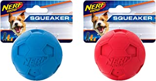 Nerf Dog (2-Pack) Soccer Squeak Ball Dog Toy, Red/Blue, Small