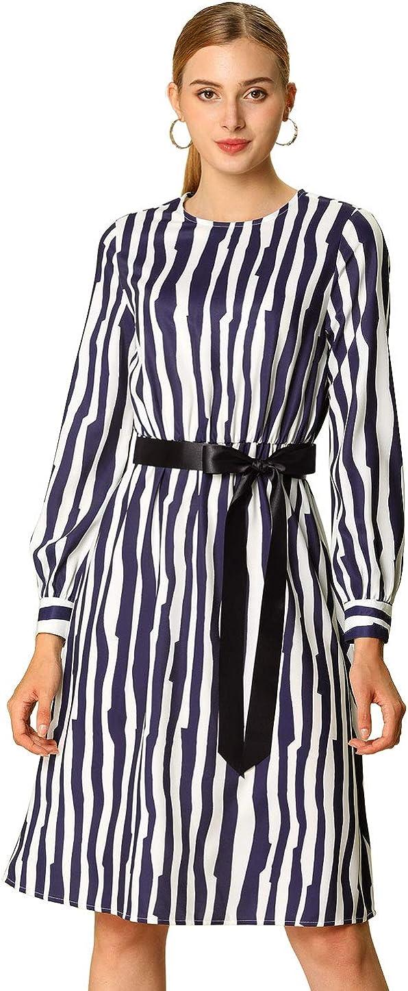 Allegra K Women's Work Office Fall Long Sleeve Tie Waist Belted Striped Dress