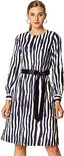 Allegra K Women's Casual Dresses Long Sleeve Striped Belted Knee Length Round Neck Dress