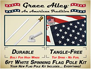 Flag Pole Kit: Includes Tangle Free Flag Pole, Flag Pole Bracket and American Flag - Made in USA. Great for Residential or Commercial. American Classic White.