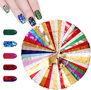 WOKOTO 50 Sheets Laser Starry Sky Nail Foil Stickers Tips Glitter Adhesive Nail Warps Transfer Decal Manicure Accessories Decorations kits (1.77inchs9.84inchs)