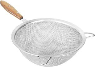 Fine Mesh Strainer with 9 Inch Large Stainless Steel Double Fine Mesh and Reinforced Frame and Comfortable Wooden Handle Grip - Designed for Chefs and Kitchen (9 Inch)