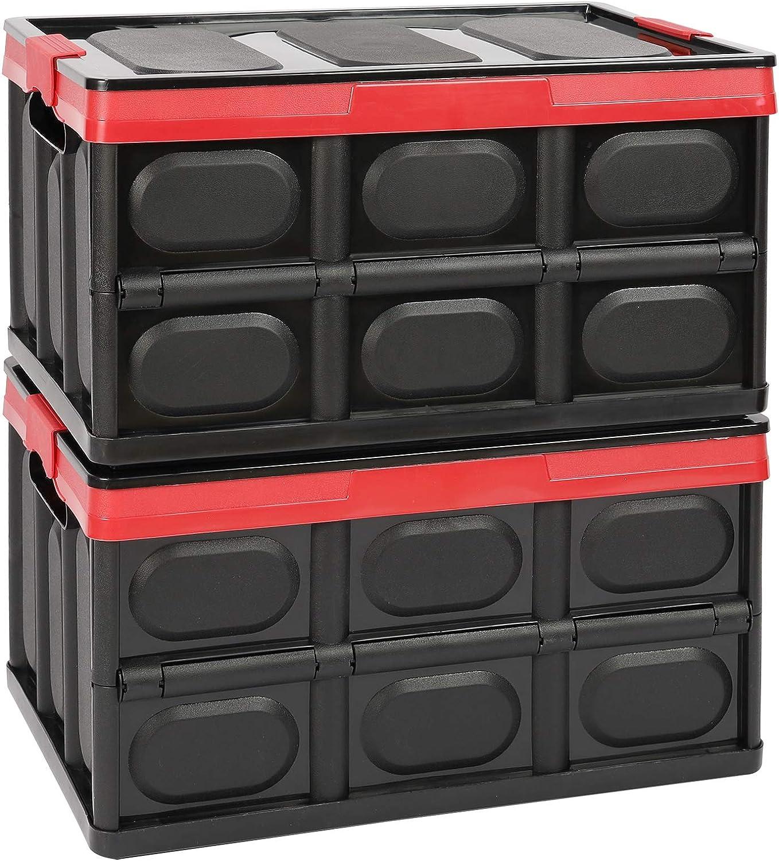 2 cajas de almacenamiento plegables con tapa, de plástico, 30 L, para ropa, libros, aperitivos, estanterías, color negro