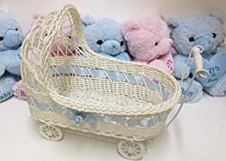 Ben Collection Wicker Baby Girl 11 Inch Carriage - Baby Shower Centerpiece Stroller Party Favors (Blue)