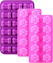 WARMWIND Silicone Dog Molds, Food Grade Chocolate, Candy, Biscuit Molds, Puppy Bone Paw Molds, Healthy Dog Treats, Reusable Ice Cube Trays, Dishwasher Safe, Pink, Purple(Set of 3)