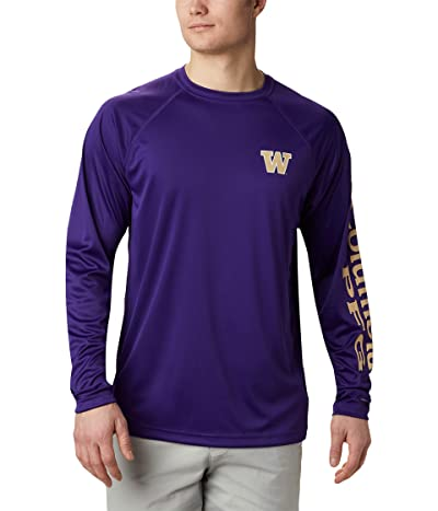 Columbia College Washington Huskies Terminal Tackletm Long Sleeve Shirt (UW Purple/Sierra Tan) Men