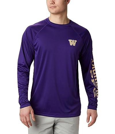 Columbia College Washington Huskies Terminal Tackle Long Sleeve Shirt (UW Purple/Sierra Tan) Men