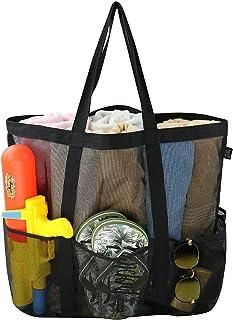 Large Mesh Beach Tote Bag with Carabiner, Drawstring Bag, 6 Pockets,Toys Bag,Shoulder Bag,Beach Holiday Net Bag, Black