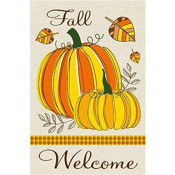 Amazon Com Texupday Welcome Fall Pumpkins Fallen Leaves Decoration Double Sided Burlap Garden Flag Autumn Harvest Outdoor Flag 12 X 18 Garden Outdoor