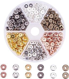 PandaHall Elite - 300pcs 6 Couleurs Perles Espacees Perles Intercalaire en Laiton 6 mm Perles Rondes Plates pour la Fabric...