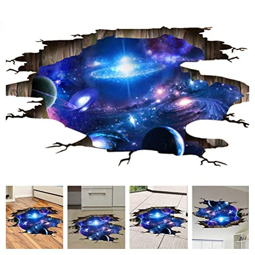 Amaonm Creative 3d Blue Cosmic Galaxy Wall Decals Removable Pvc Magic 3d Milky Way Outere