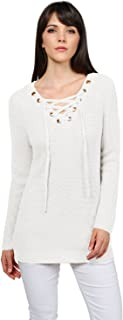 Made by Emma MBE Women's Casual Solid Raglan Long Sleeve Lace up Front V-Neck Knit Sweater