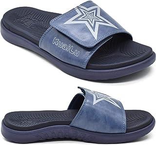 KUAILU Claquette hommes sandales de sport pour hommes pantoufles Reglables en cuir soutien de la voûte plantaire sandales ...