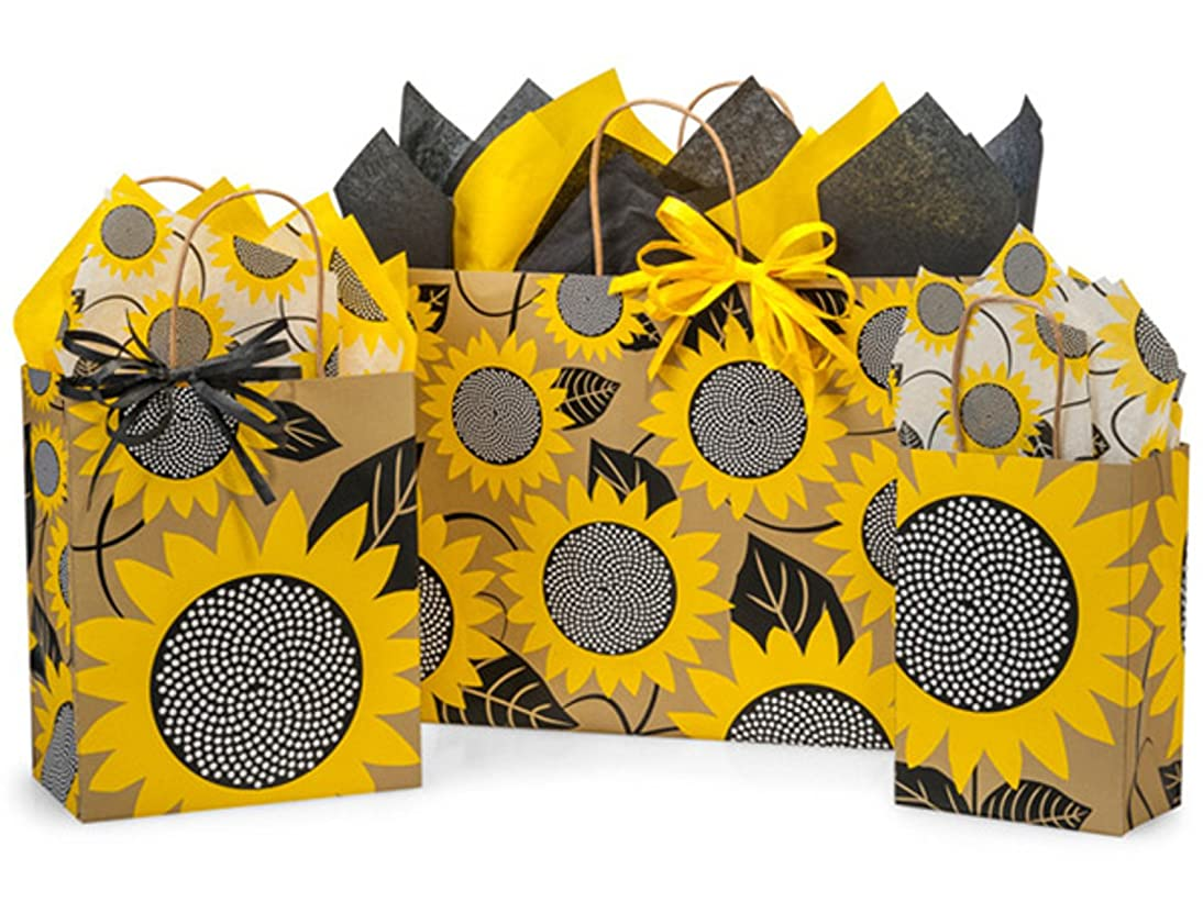 Gift Bags, Assorted Sizes, Bundled with Coordinating Tissue Paper and Raffia Ribbon (Sunflower Fields)
