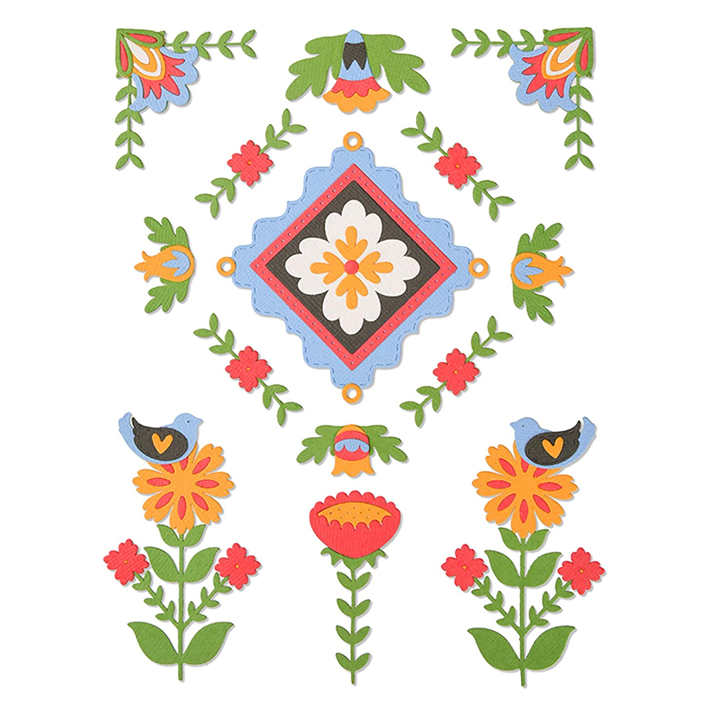 Sizzix 663607 Folk Art Elements by Courtney Chilson Dies, us:one Size, Multicolor