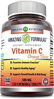 Amazing Formulas Vitamin C 500mg Chewable Tablets (Non GMO,Gluten Free) (Orange Flavor)- Promotes Immune Function, Supports Healthy Aging, Overall Health & Well-Being* (250 Count)