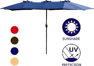 LOKATSE HOME Double-Sided Market Patio Outdoor Umbrella, 15 Feet Garden Aluminum Umbrella Twin Sun Canopy Umbrella with Crank (Blue)