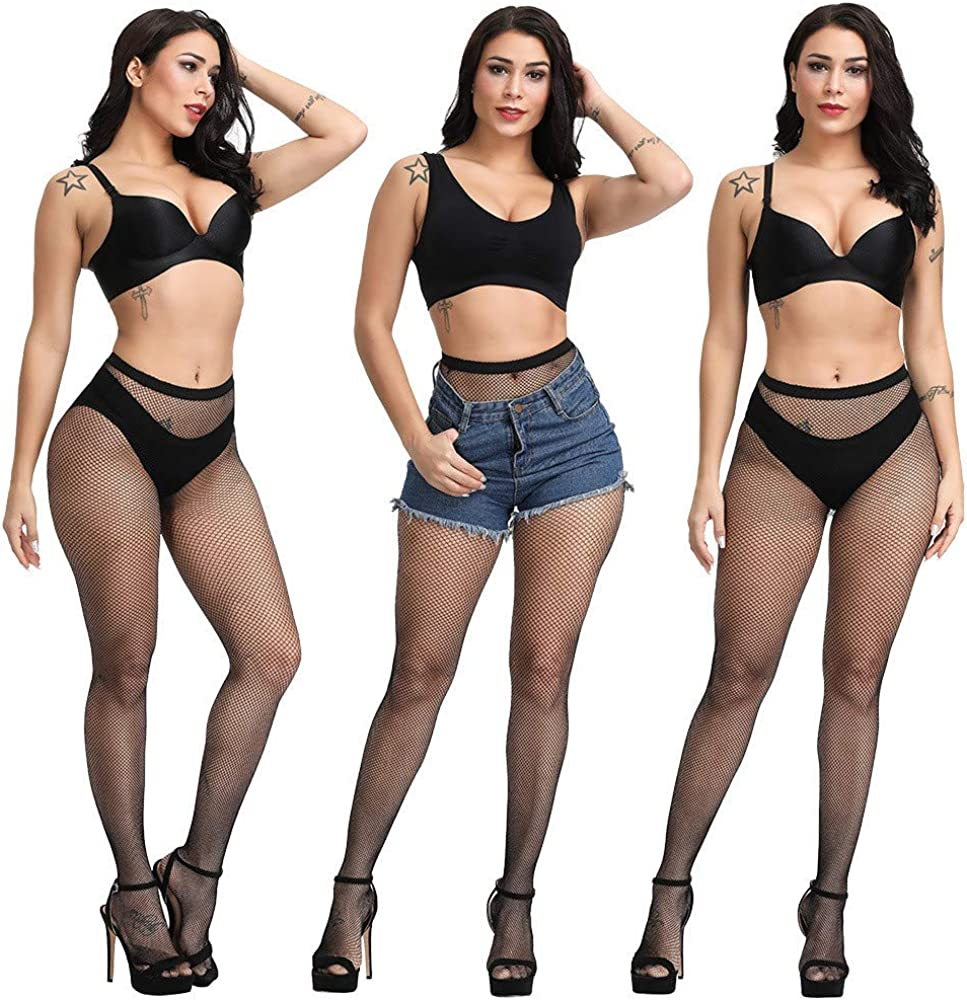 FieryLove Womens Sexy Fishnet Stocking Mesh Tights Pantyhose Thigh High Stockings