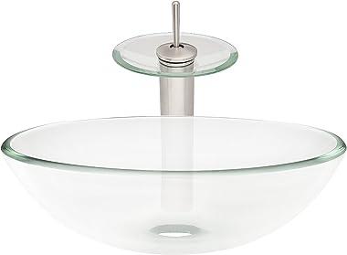 Novatto BONIFICARE Glass Vessel Bathroom Sink Set, Brushed Nickel/Clear Glass