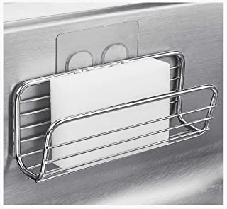 Adhesive Sponge Holder Sink Caddy for Kitchen Accessories, SUS304 Stainless Steel Rust Proof Water Proof, Quick Drying