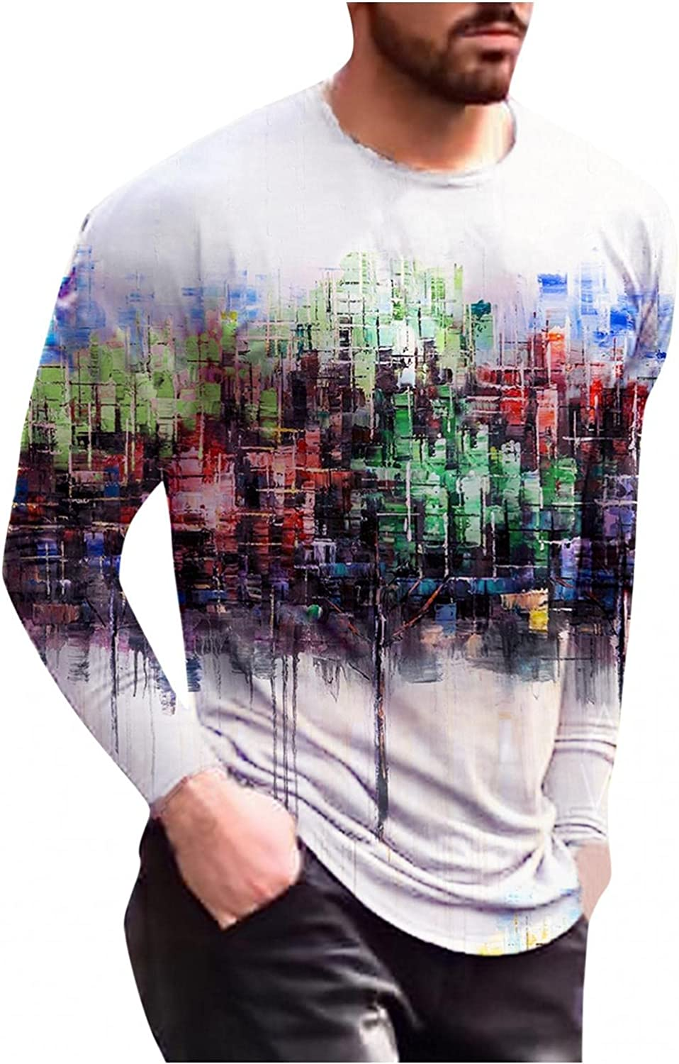 Men T-Shirts Painting Printed 3D Graphic Tee Casual Round Neck Long Sleeve Tops Workout Sport Men's T Shirts