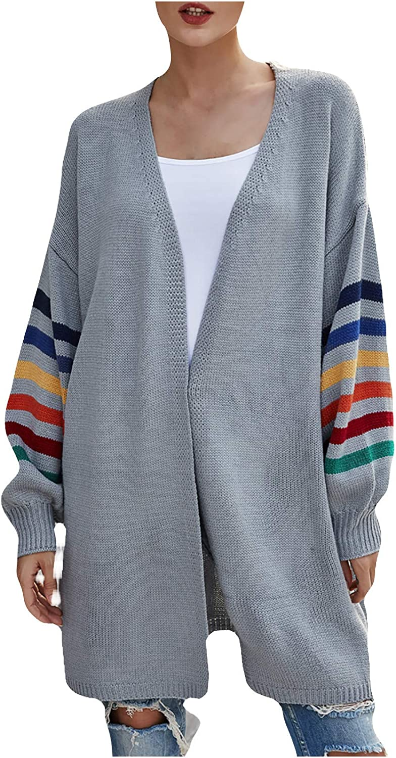 Womens Knitted Sweaters Large Size Loose Tops Color Block Cardigan Shirts Autumn Winter Warm Coats