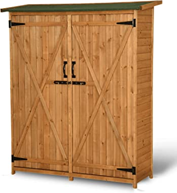 MCombo Outdoor Wooden Storage Shed Utility Tools Organizer Garden Lawn with Lockable Double Doors 1400 (Natural)