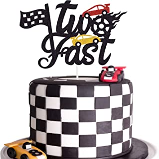 Two Fast Cake Topper Race Car Theme 2nd Birthday Cake Decoration Chequered Flag Themed Party Supplies Decorations(Doubled-Sided)
